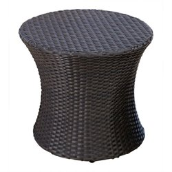 Bowery Hill Outdoor Wicker End Table in Espresso Brown
