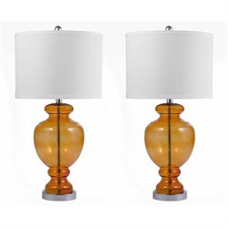 Bowery Hill Glass Table Lamp in Orange (Set of 2)