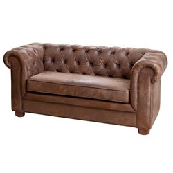 Bowery Hill Mini Fabric Chesterfield Sofa in Antique Brown