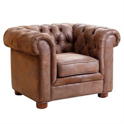Bowery Hill Mini Fabric Chesterfield Club Chair in Brown