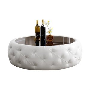 Bowery Hill Leather Round Coffee Table in White