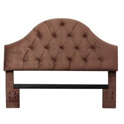 Bowery Hill Tufted Velvet Full Queen Headboard in Brown