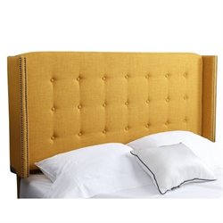Bowery Hill Tufted Linen Full Queen Headboard in Yellow