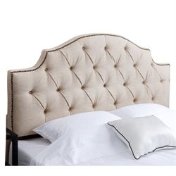Bowery Hill Tufted Linen Full Queen Headboard in Wheat