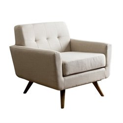 Bowery Hill Tufted Fabric Arm Chair in Ivory