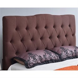 Bowery Hill Linen Upholstered Queen Headboard in Chocolate