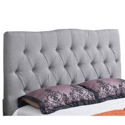 Bowery Hill Linen Upholstered Queen Headboard in Gray