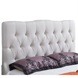 Bowery Hill Linen Upholstered Queen Headboard in Ivory