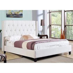 Bowery Hill Linen Upholstered Queen Panel Bed in Ivory