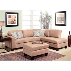 Bowery Hill 3 Piece Fabric Sectional with Ottoman in Beige
