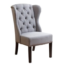 Bowery Hill Linen Dining Chair in Green Gray