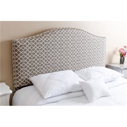Bowery Hill Queen Full Nail Head Trim Headboard in Gray