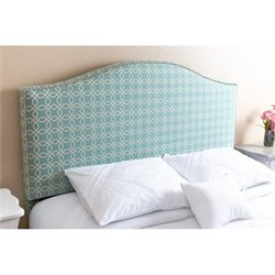 Bowery Hill Queen Full Nail Head Trim Headboard in Turqoise