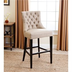 Bowery Hill Upholstered Bar Stool in Beige
