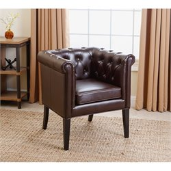 Bowery Hill Leather Dining Chair in Dark Brown
