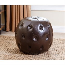 Bowery Hill Leather Tufted Ottoman in Dark Brown