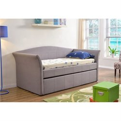 Bowery Hill Fabric Daybed with Trundle in Gray