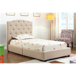 Bowery Hill Twin Upholstered Bed in Beige