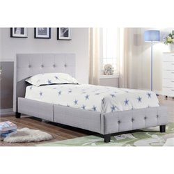 Bowery Hill Twin Upholstered Bed in Gray