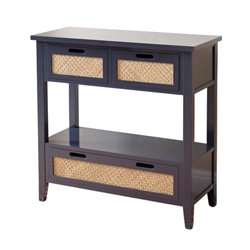Bowery Hill Antique Console Table in Charcoal Blue