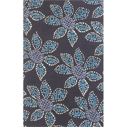 Bowery Hill 3' x 5' New Zealand Wool Rug in Teal And Black