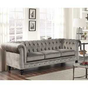 Bowery Hill Velvet Sofa in Gray