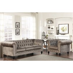 Bowery Hill 2 Piece Velvet Sofa Set in Gray