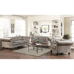 Bowery Hill 3 Piece Velvet Sofa Set in Gray
