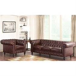 Bowery Hill Leather 2 Piece Sofa Set in Brown