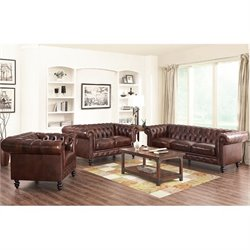 Bowery Hill Leather 3 Piece Sofa Set in Brown