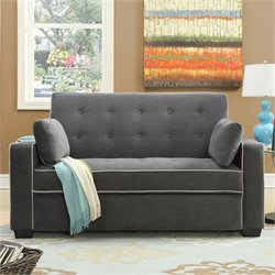 Bowery Hill Convertible Full Loveseat in Gray