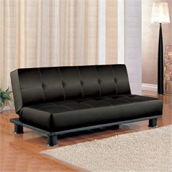 Bowery Hill Contemporary Armless Convertible Sofa Bed in Black Vinyl