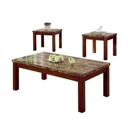 Bowery Hill 3 Piece Faux Marble Occasional Table Set in Cherry