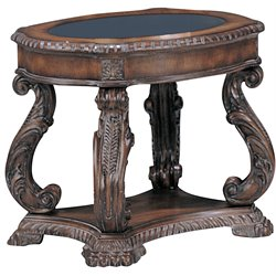 Bowery Hill Traditional Oval End Table with Glass Inlay Top