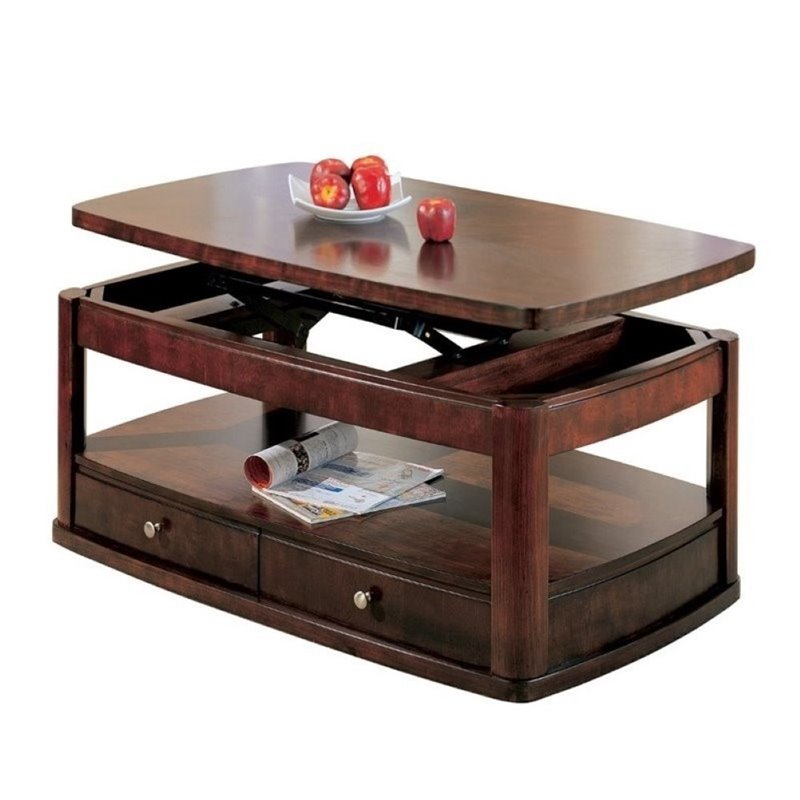 Bowery Hill Contemporary Lift Top Coffee Table In Cherry Bh 201324
