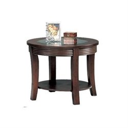 Bowery Hill Round Glass Top End Table in Cappuccino