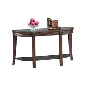 Bowery Hill Glass Top Console Table in Cappuccino