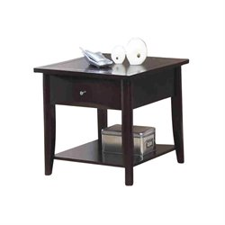 Bowery Hill Square Storage End Table in Cappuccino