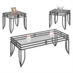 Bowery Hill 3 Piece Occasional Table Set in Black Pewter