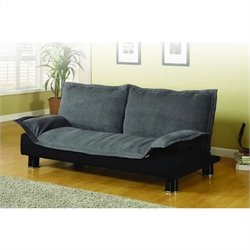 Bowery Hill Microfiber Convertible Sofa Bed in Gray and Black