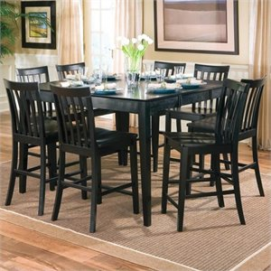 Bowery Hill Counter Height Wood Dining Table with Leaf in Black