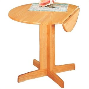 Bowery Hill Round Wood Pedestal Dining Table with Leaf in Warm Natural