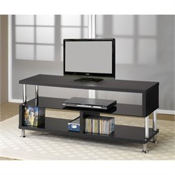 Bowery Hill Contemporary TV Stand with Glass and Chrome