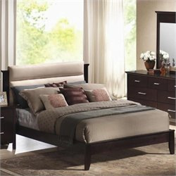 Bowery Hill Upholstered Queen Platform Bed in Mahogany