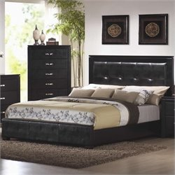 Bowery Hill Faux Leather Upholstered Low Profile Bed