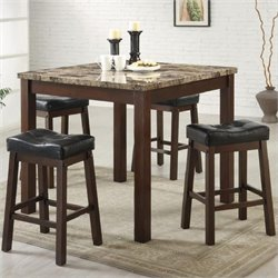 Bowery Hill 5 Piece Faux Marble Counter Height Dining Set in Cherry