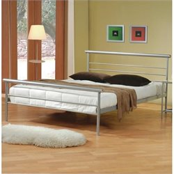 Bowery Hill Queen Iron Bed in Silver Metal
