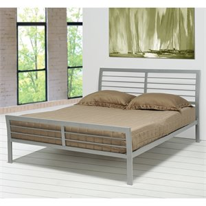 Bowery Hill Queen Iron Metal Bed in Silver
