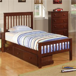 Bowery Hill Twin Slat Bed in Deep Dark Cappuccino