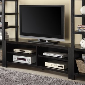 Bowery Hill Inverted Curved Front TV Stand in Cappuccino